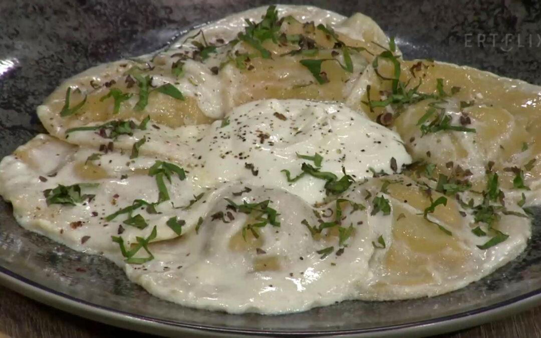 Ραβιόλι βρασμένα σε τσάι γεμιστά με Πατάτα Νάξου και σπαράγγια | Π.Ο.Π. Μαγειρική